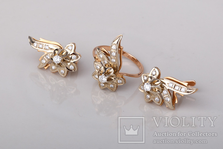 Серьги и кольцо с бриллиантами, фото №5