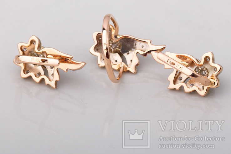 Серьги и кольцо с бриллиантами, фото №6