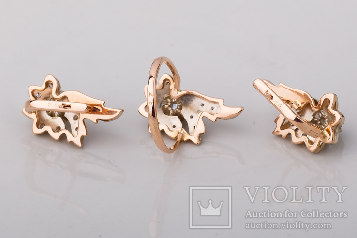 Серьги и кольцо с бриллиантами, фото №7