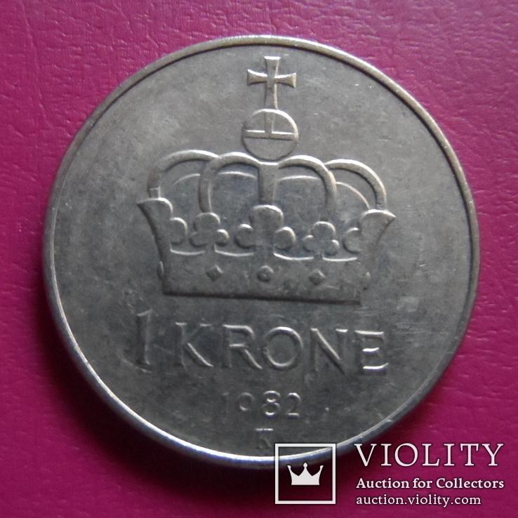 1 крона  1982  Норвегия  (S.2.5)~, фото №3