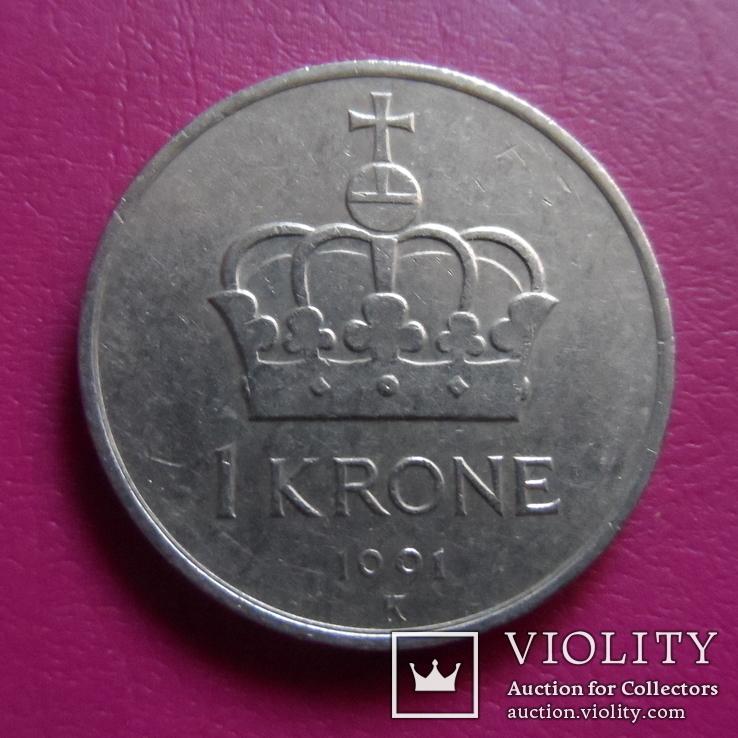 1 крона  1991  Норвегия  (S.2.3)~, фото №3