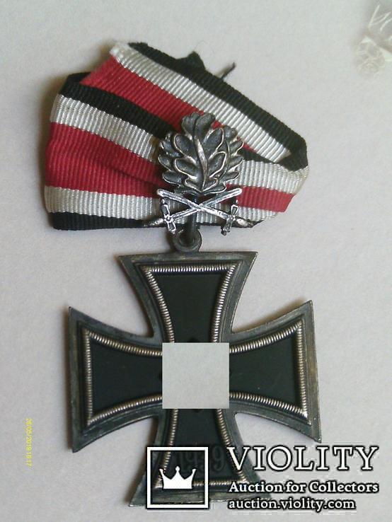 Рицарский железный крест с листьям и мечами. Реплика., фото №2