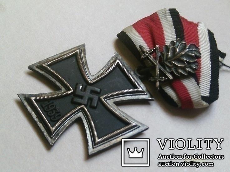 Рицарский железный крест с листьям и мечами. Реплика., фото №6