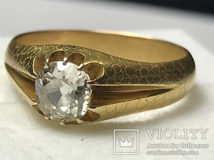 Золотое кольцо с бриллиантом 56 пробы Российская Империя, фото №3