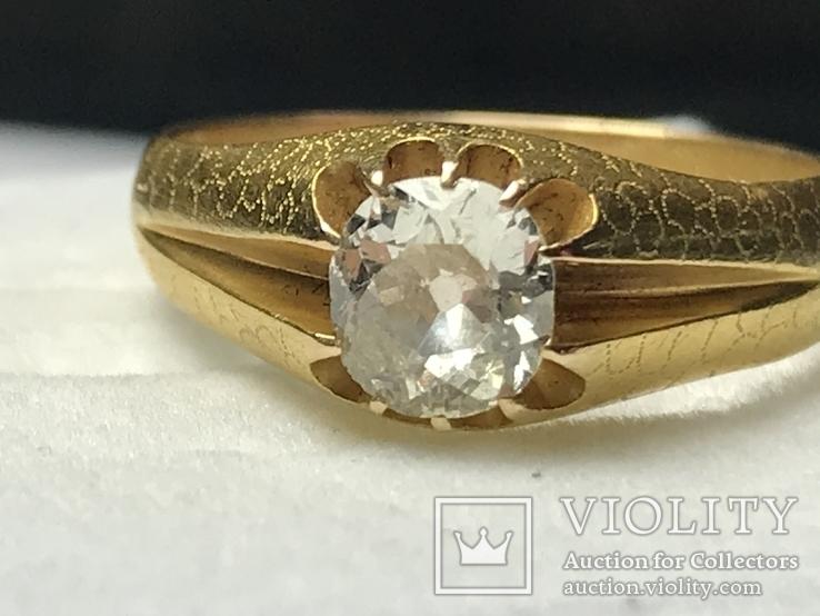 Золотое кольцо с бриллиантом 56 пробы Российская Империя, фото №4
