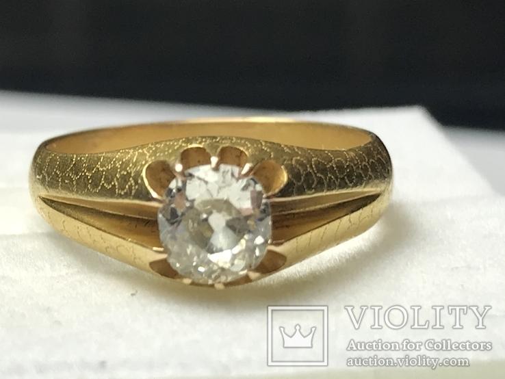 Золотое кольцо с бриллиантом 56 пробы Российская Империя, фото №6