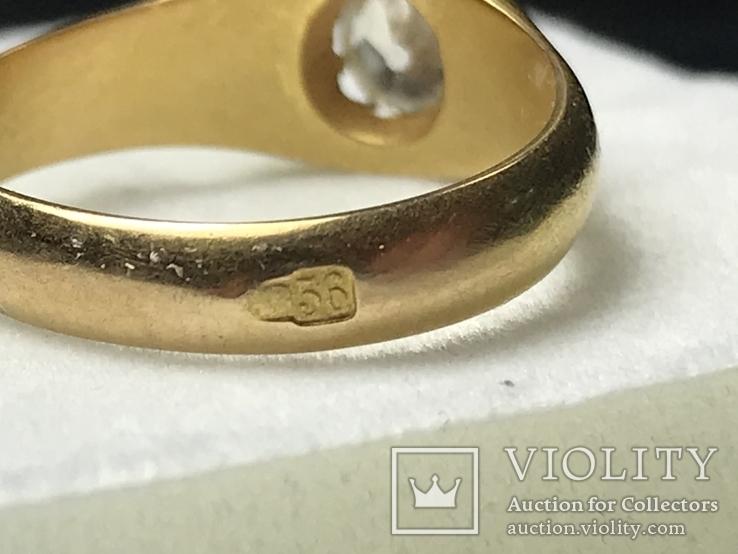 Золотое кольцо с бриллиантом 56 пробы Российская Империя, фото №7