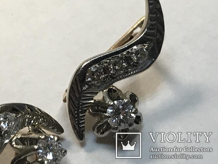 Золотые серьги СССР с бриллиантами 1/2  + бирка, фото №6