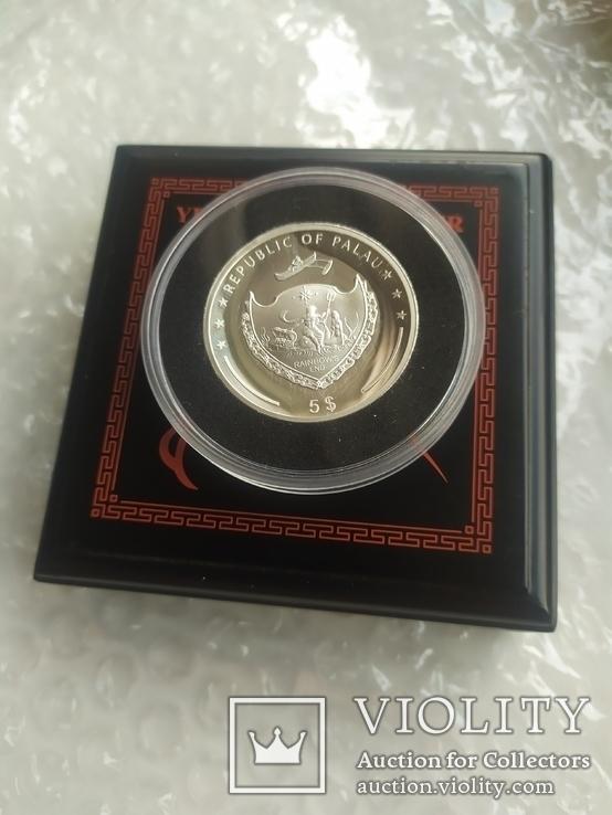 Год Петуха 5 долларов Палау 2017 серебро 31.1, фото №6