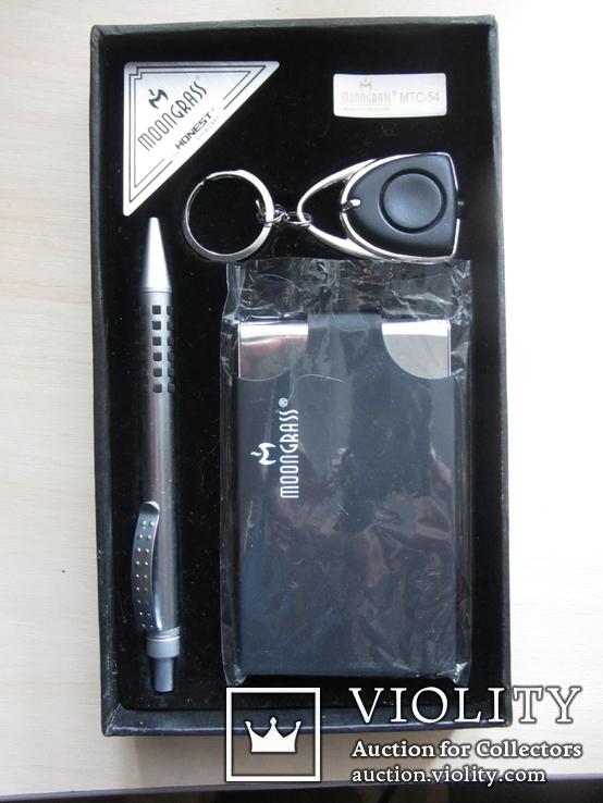 Подарочный набор MOONGRASS ручка+визитница+брелок, фото №4