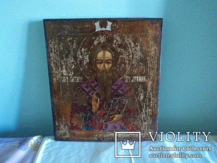 Икона Св. Антипий в киотной раме, фото №3