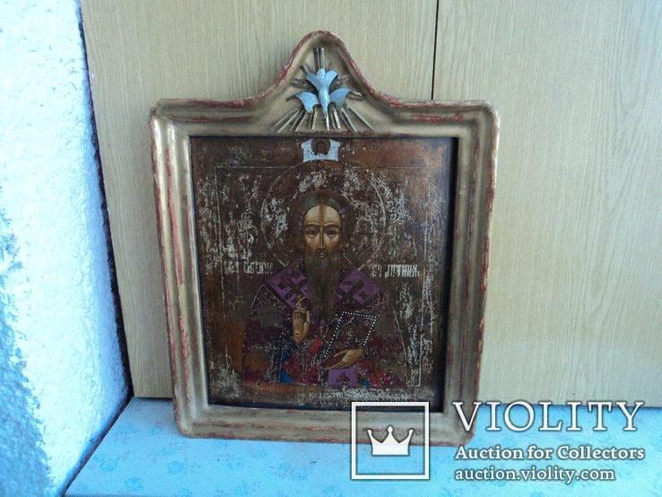Икона Св. Антипий в киотной раме, фото №9