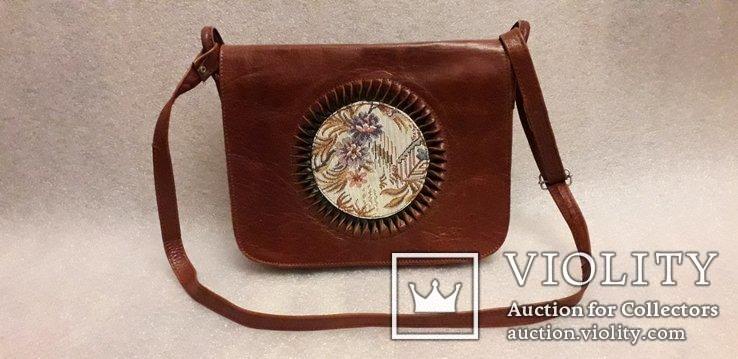 Шкіряна сумка із вставками гобелену, фото №2