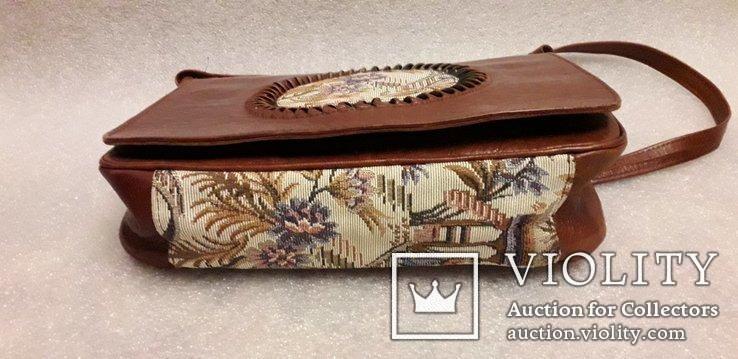 Шкіряна сумка із вставками гобелену, фото №4