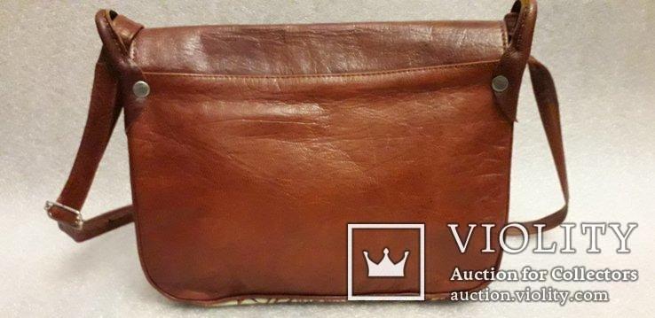 Шкіряна сумка із вставками гобелену, фото №5