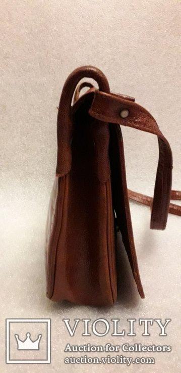 Шкіряна сумка із вставками гобелену, фото №7