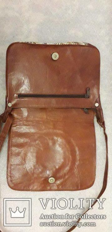 Шкіряна сумка із вставками гобелену, фото №8