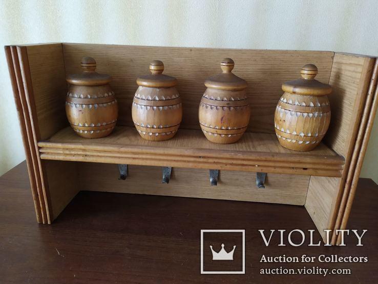 Кухонная полочка с емкостями для специй и крючками для полотенец, фото №6