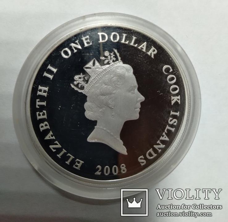 1 долар 2008 Острови Кука АН - 148 Позолота, фото №2