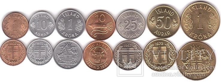 Iceland Исландия - набор 7 монет 1 10 10 25 50 Aurar 1 1 Krona 1965 - 1981 aUNC