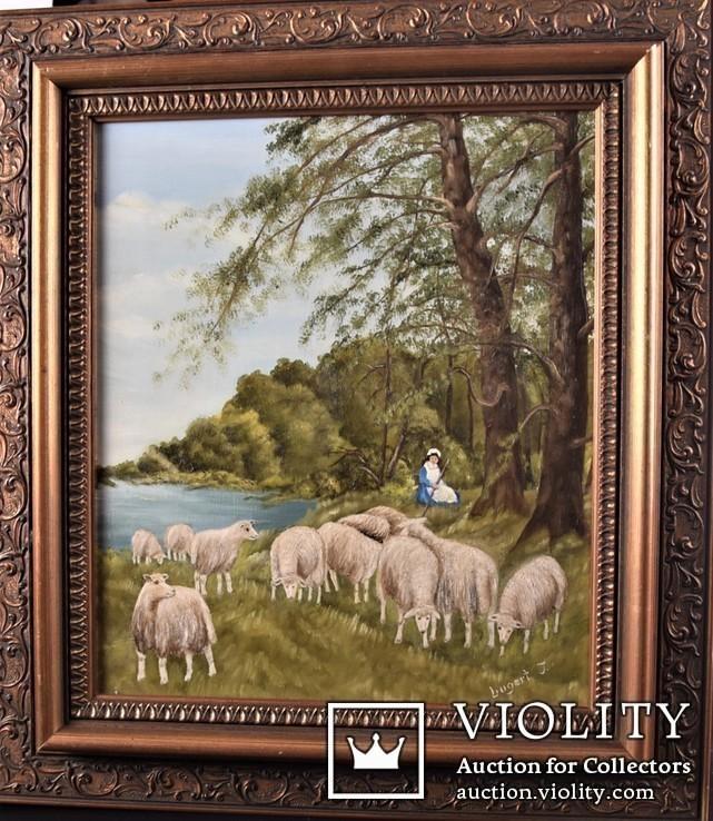 Картина. Сельский пейзаж. Масло. Подпись J.Lugert ., фото №3