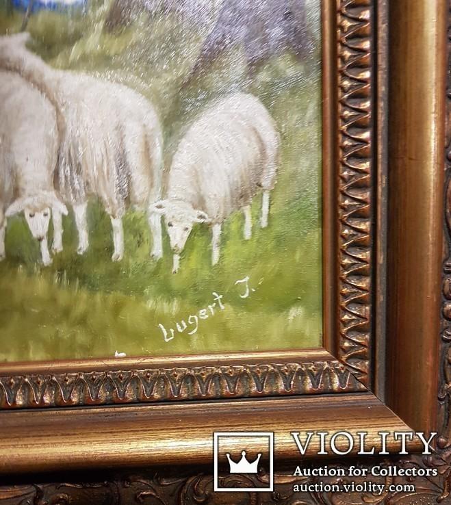 Картина. Сельский пейзаж. Масло. Подпись J.Lugert ., фото №9