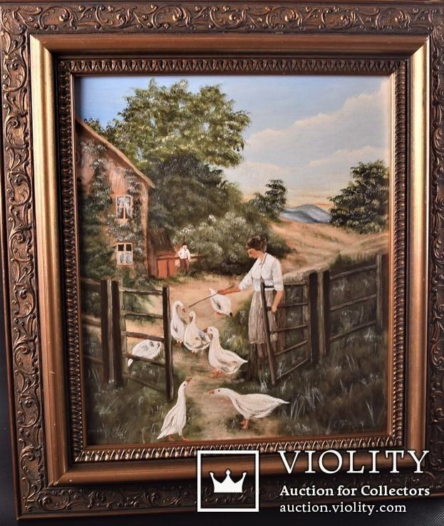 Картина сельский пейзаж Масло Подпись J.Lugert . Трилогия