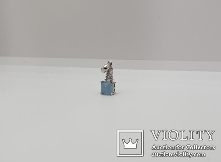 Серебряная подвеска с природным аквамарином в позолоте, фото №3