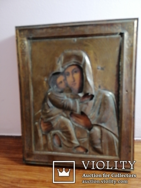 Икона Владимирская Богородица в окладе, фото №6