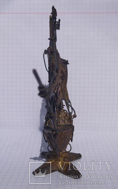 Серебряный парусник, скань, эмаль., фото №9