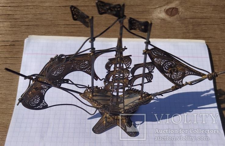 Серебряный парусник, скань, эмаль., фото №10