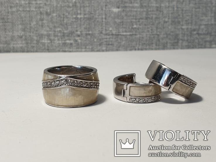 Набор серьги с кольцом 925 пробы с перламутровыми вставками 26,43 гр, фото №2