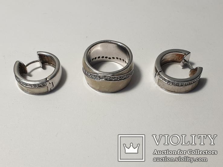 Набор серьги с кольцом 925 пробы с перламутровыми вставками 26,43 гр, фото №3
