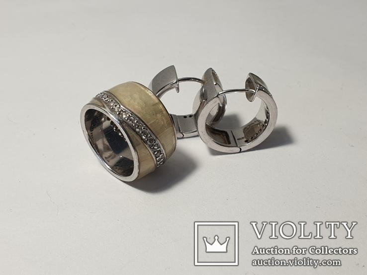 Набор серьги с кольцом 925 пробы с перламутровыми вставками 26,43 гр, фото №4