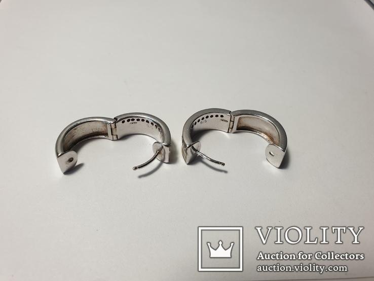 Набор серьги с кольцом 925 пробы с перламутровыми вставками 26,43 гр, фото №12