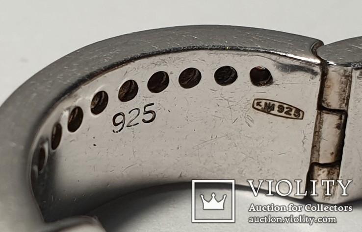 Набор серьги с кольцом 925 пробы с перламутровыми вставками 26,43 гр, фото №13