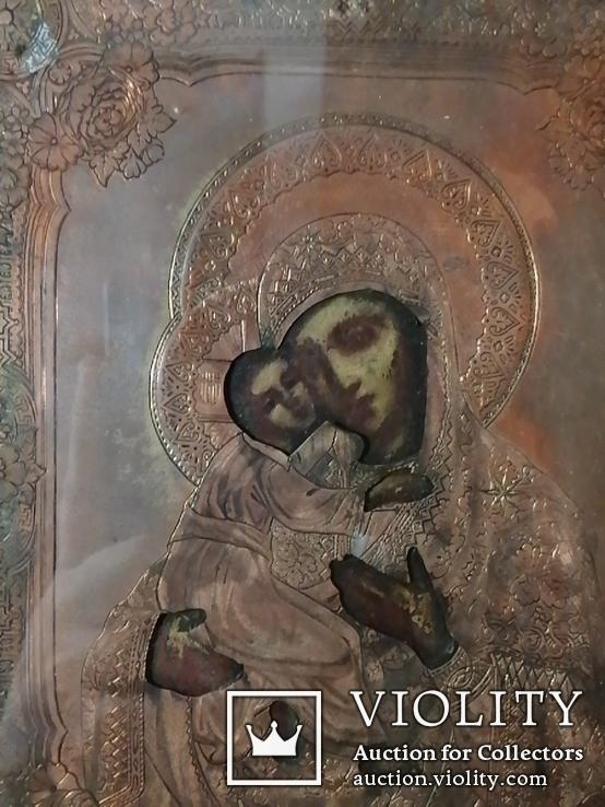 Икона Владимирская Богородица в окладе, фото №3