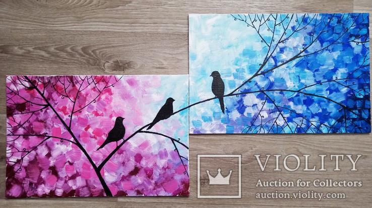 Картина диптих 20х30 см Птички, фото №2