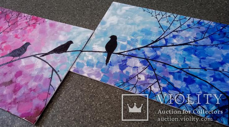 Картина диптих 20х30 см Птички, фото №3