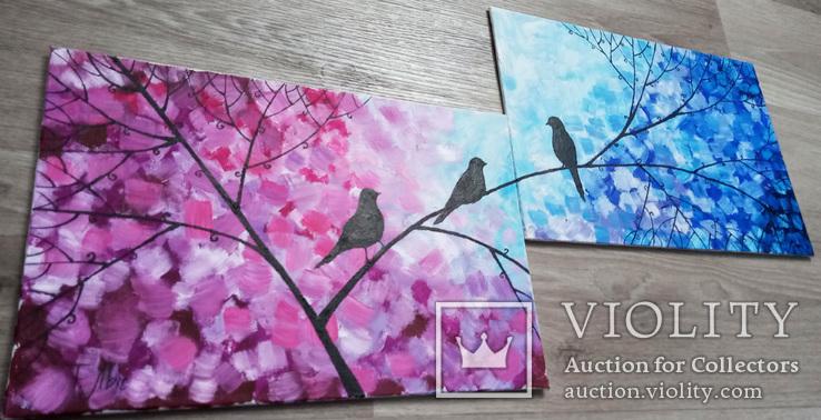 Картина диптих 20х30 см Птички, фото №5