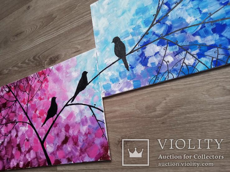 Картина диптих 20х30 см Птички, фото №6