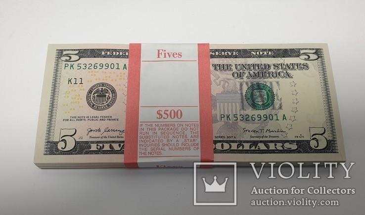 Купюры Боны 5$ 10 штук (50$) доллары США 2017 год код 4, фото №3