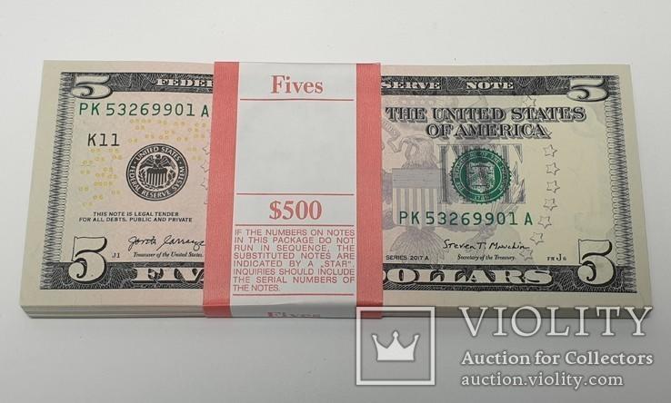 Купюры Боны 5$ 10 штук (50$) доллары США 2017 год код 4, фото №4