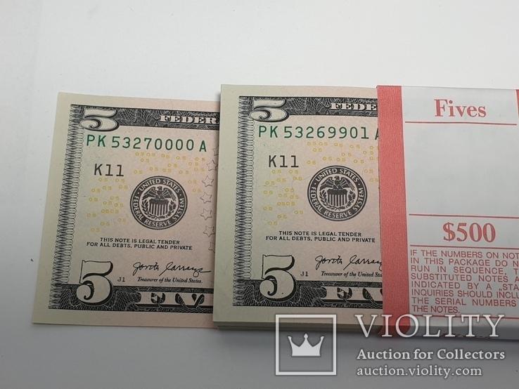 Купюры Боны 5$ 10 штук (50$) доллары США 2017 год код 4, фото №8