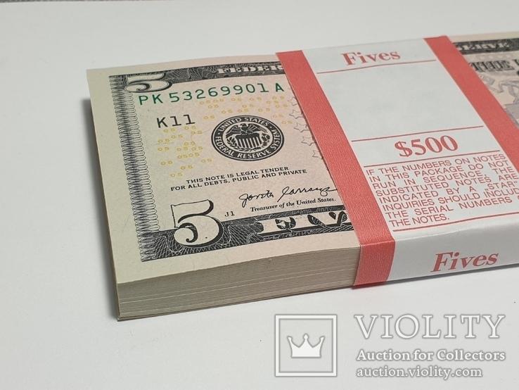 Купюры Боны 5$ 10 штук (50$) доллары США 2017 год код 4, фото №10
