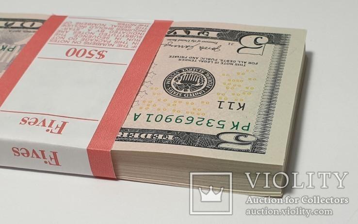 Купюры Боны 5$ 10 штук (50$) доллары США 2017 год код 4, фото №11