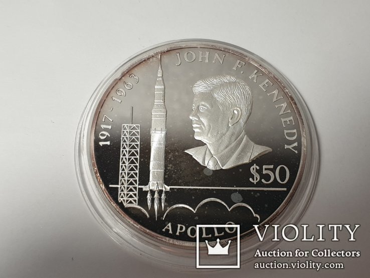 Монета 50 Dollars, 5 унций серебро 1993 Niue 1993 John F. Kennedy Apollo, фото №3
