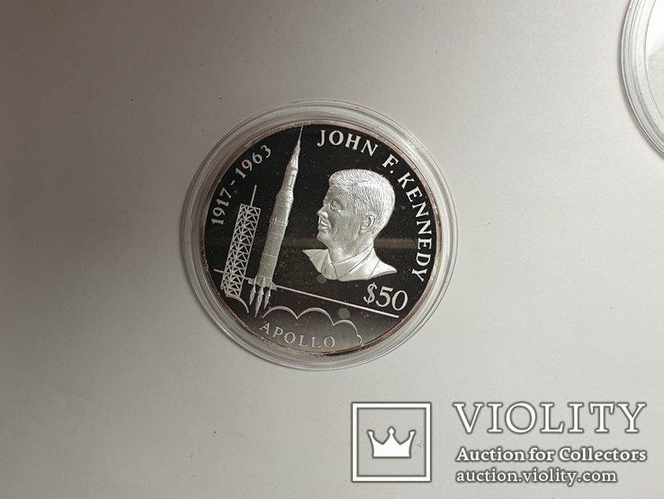 Монета 50 Dollars, 5 унций серебро 1993 Niue 1993 John F. Kennedy Apollo, фото №4