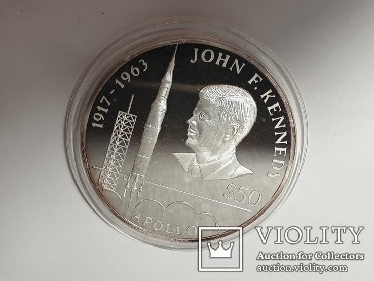 Монета 50 Dollars, 5 унций серебро 1993 Niue 1993 John F. Kennedy Apollo, фото №5