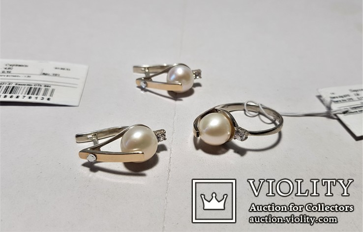Комплект Серебряные серьги и кольцо с золотыми вставками, фото №2